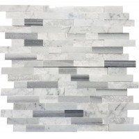 MA256-SP  5/8 Carrara and marwa Strips split face without space polished & matt mixed