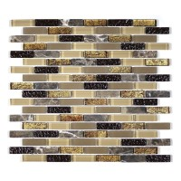 "MA18-LB  2"" BRICK GLASS MOSAIC AND MARBLE BLEND"