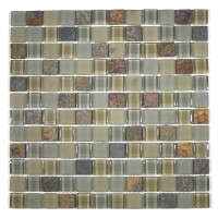 "MA19-LS  1"" SQUARE GLASS AND STONE MOSAIC BLEND"