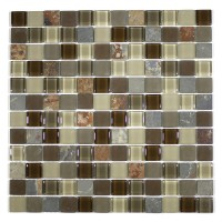 "MA20-LS  1"" SQUARE GLASS AND STONE MOSAIC BLEND"
