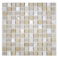 """MA29-LS  1"""" SQUARE GLASS STONE AND SHELL MIX"""