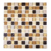 "MA07-LS  1"" SQUARE GLASS AND MARBLE MOSAIC BLEND"