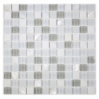 "MA68-LS  1"" SQUARE SHELL, MARBLE AND GLASS MOSAIC"