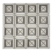 MA222-SQ  Wooden white Squares with space polished