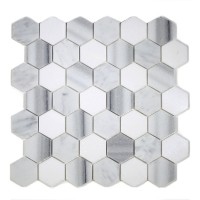 "MA231-HX2H  2"" White Carrara, marwa, thasos  HONED Hexagon"