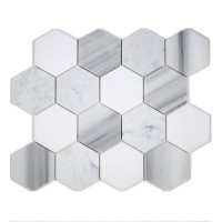"MA231-HX3H  3"" White Carrara, marwa, thasos HONED  Hexagon"