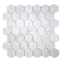 """MA233-HX2   2"""" White Carrara HONED Hexagon"""