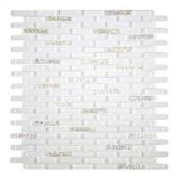 MA27-MB  MINI BRICK WHITE GLASS MOSAIC AND MARBLE BLEND