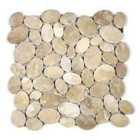 COIN MARBLE TILE TAN TUMBLED STONE PEBBLES