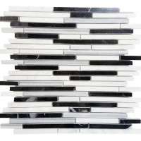 MA209-STS  3/8 Carrara, marwa, thasos + negro marquina Strips with space polished