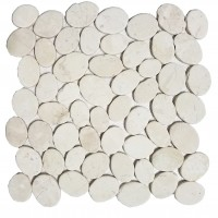 COIN MARBLE TILE OFF-WHITE TUMBLED STONE PEBBLES