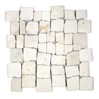 BLOCK TUMBLE MARBLE OFF-WHITE STONE PEBBLES MOSAIC