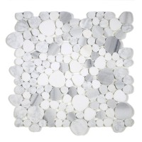 MA244-PB HONED Pebbles Carrara white, Thassos and Marwa White