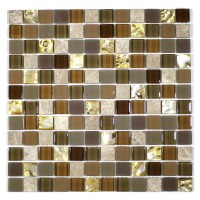 """MA70-LS  1"""" SQUARE SHELL, MARBLE AND GLASS MOSAIC"""