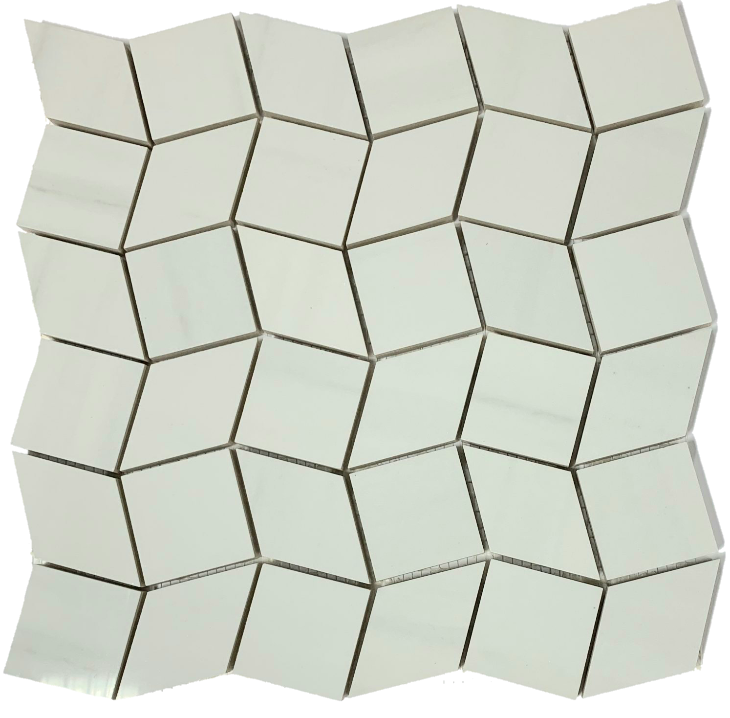 2 x 2 Dolomite R+Q Diamond shape polished porcelain mosaic