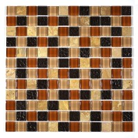 "MA13-LS  1"" SQUARE GLASS AND STONE MOSAIC BLEND"