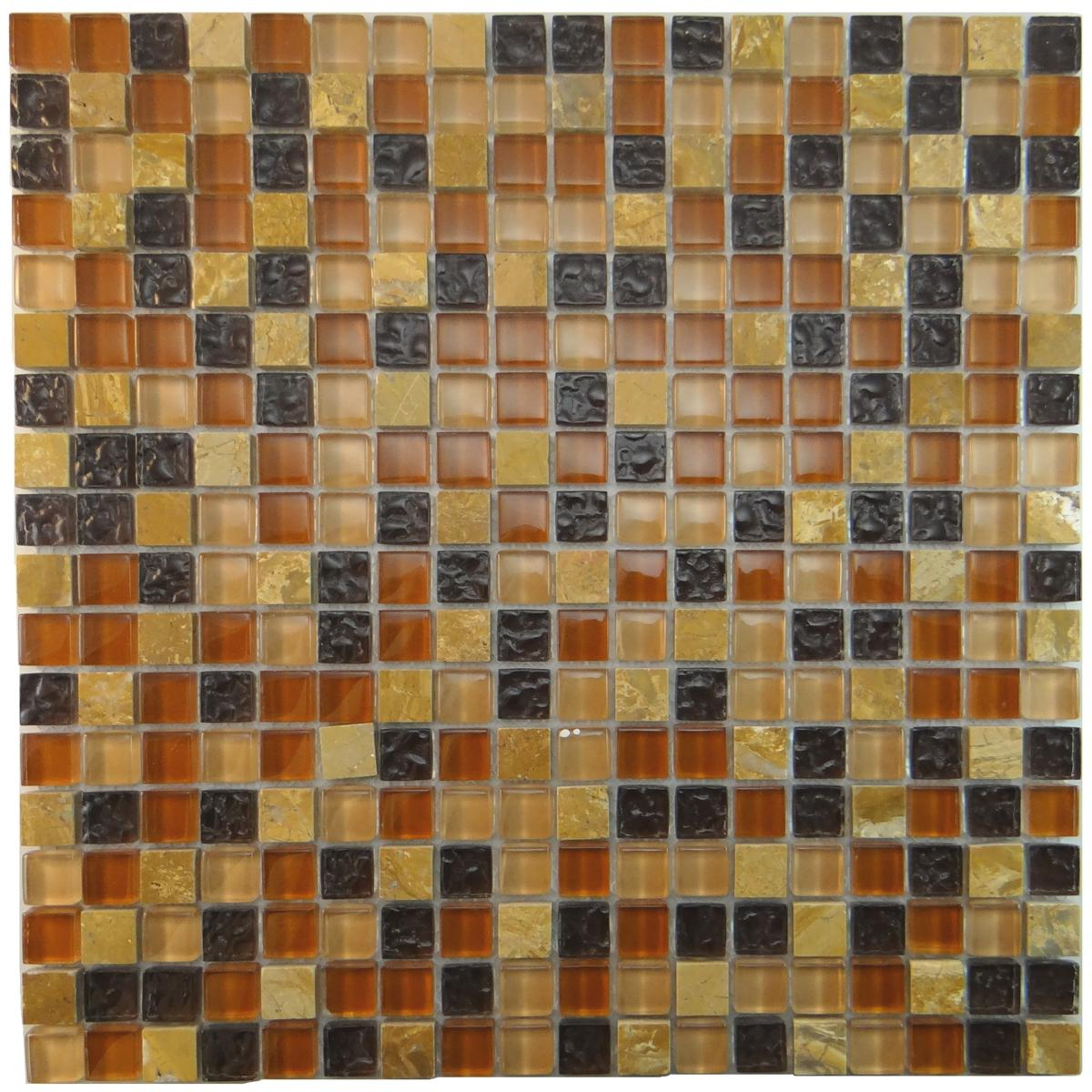 "MA13-S  5/8"" SQUARE GLASS AND STONE MOSAIC BLEND"