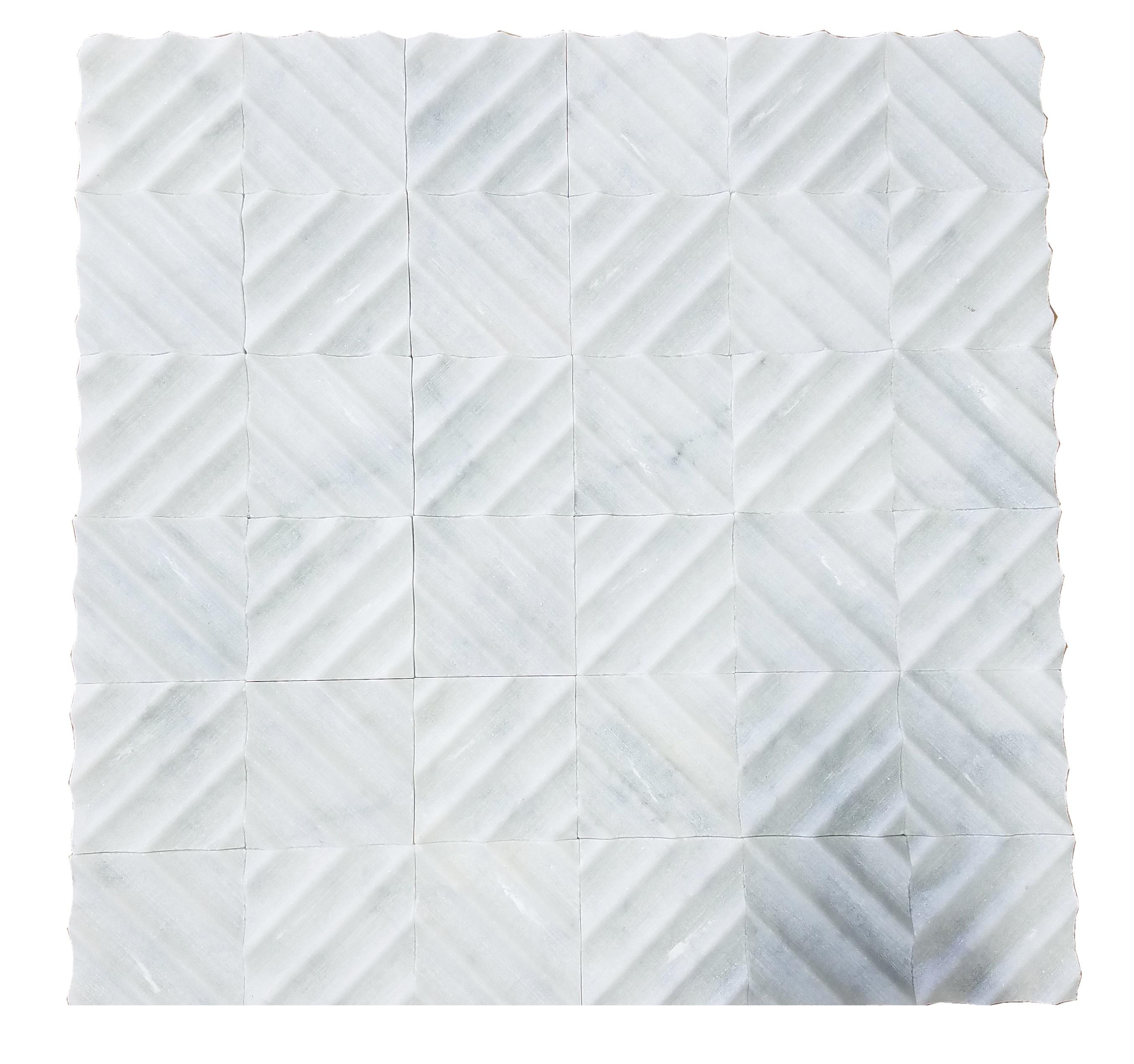 MA229-RQ  White Carrara Marble Mosaic Honed