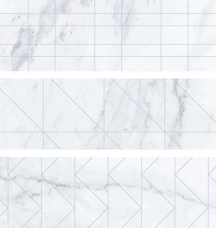4.5 X 13 Deco Velvet Blanco brick porcelain tile (9 MIXED PATTERNS)