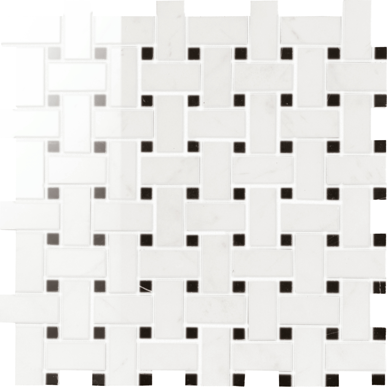 """2"""" Muse Statuario High Polished Basket weave mosaic (SPECIAL ORDER ONLY)"""