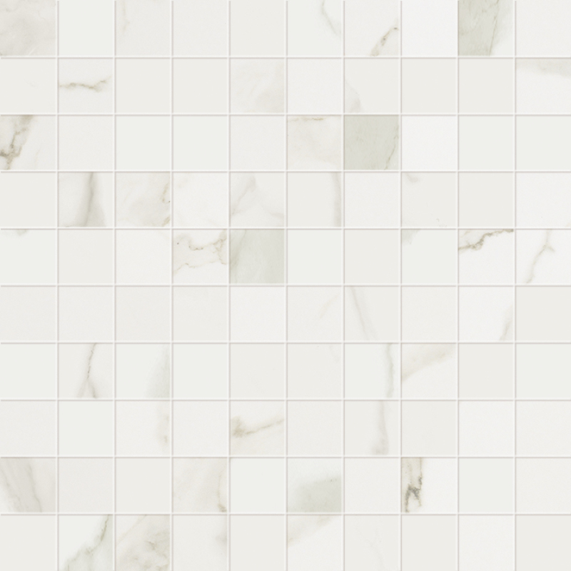 1 x 1 Muse Statuario Satin porcelain mosaic (SPECIAL ORDER ONLY)