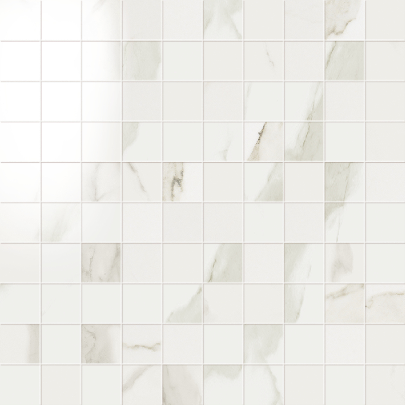 1 x 1 Muse Statuario High Polished porcelain mosaic (SPECIAL ORDER ONLY)