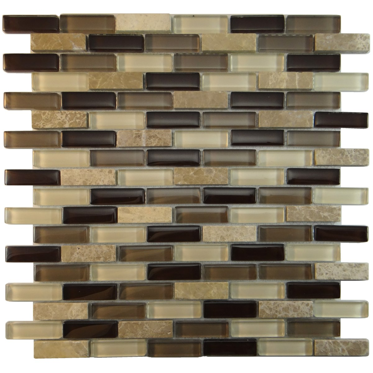 "MA23-B  3"" BRICK GLASS MOSAIC AND MARBLE BLEND"