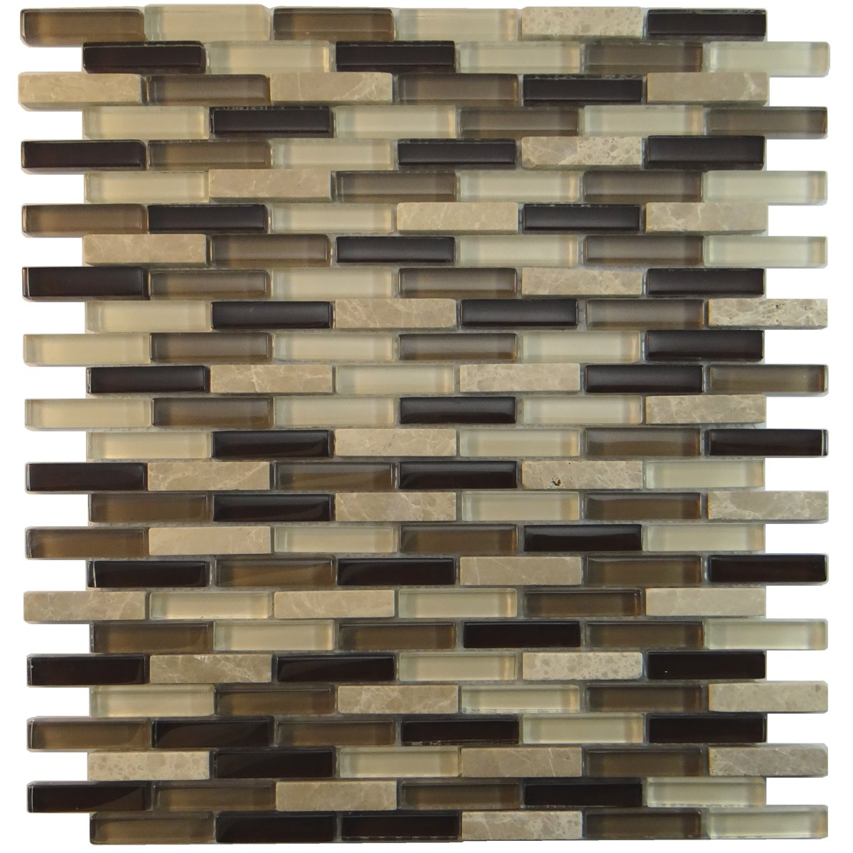 MA23-MB  MINI BRICK GLASS MOSAIC AND MARBLE BLEND