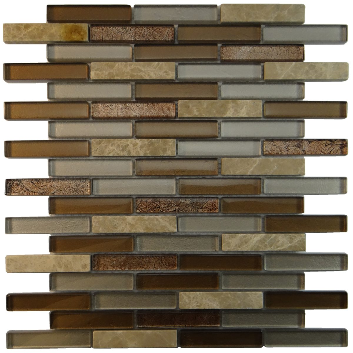 "MA28-B  3"" BRICK GLASS MOSAIC AND MARBLE BLEND"