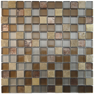 "MA28-LS  1"" SQUARE GLASS MOSAIC AND MARBLE BLEND"