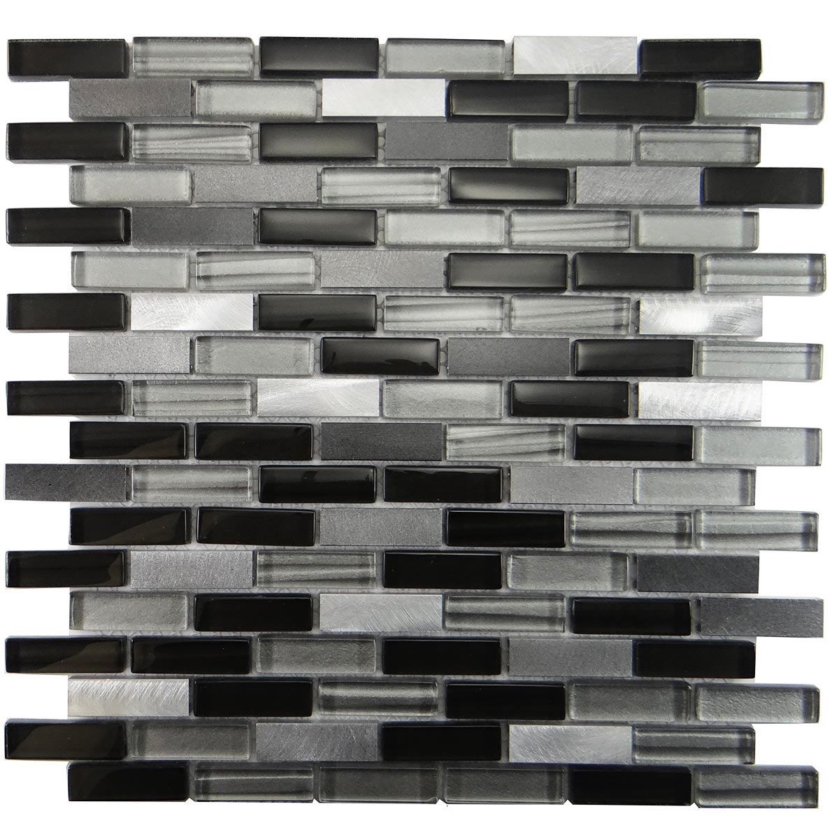 "MA48-LB  2""  BRICK GLASS AND ALUMINUM MOSAIC BLEND"