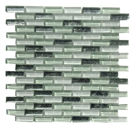 "MA50-LB  2""  BRICK GLASS AND ALUMINUM MOSAIC BLEND"