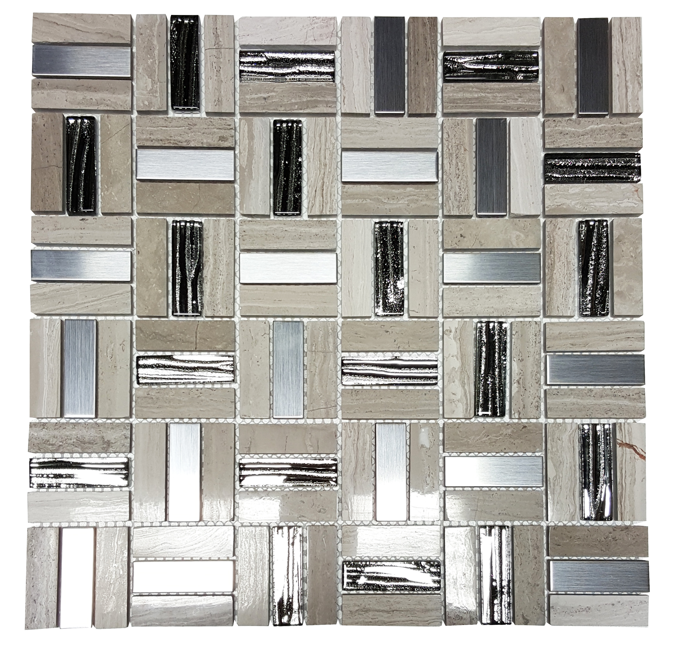 "MA66-SR  2""  SQUARE PATTERN GLASS, MARBLE AND METAL MOSAIC"