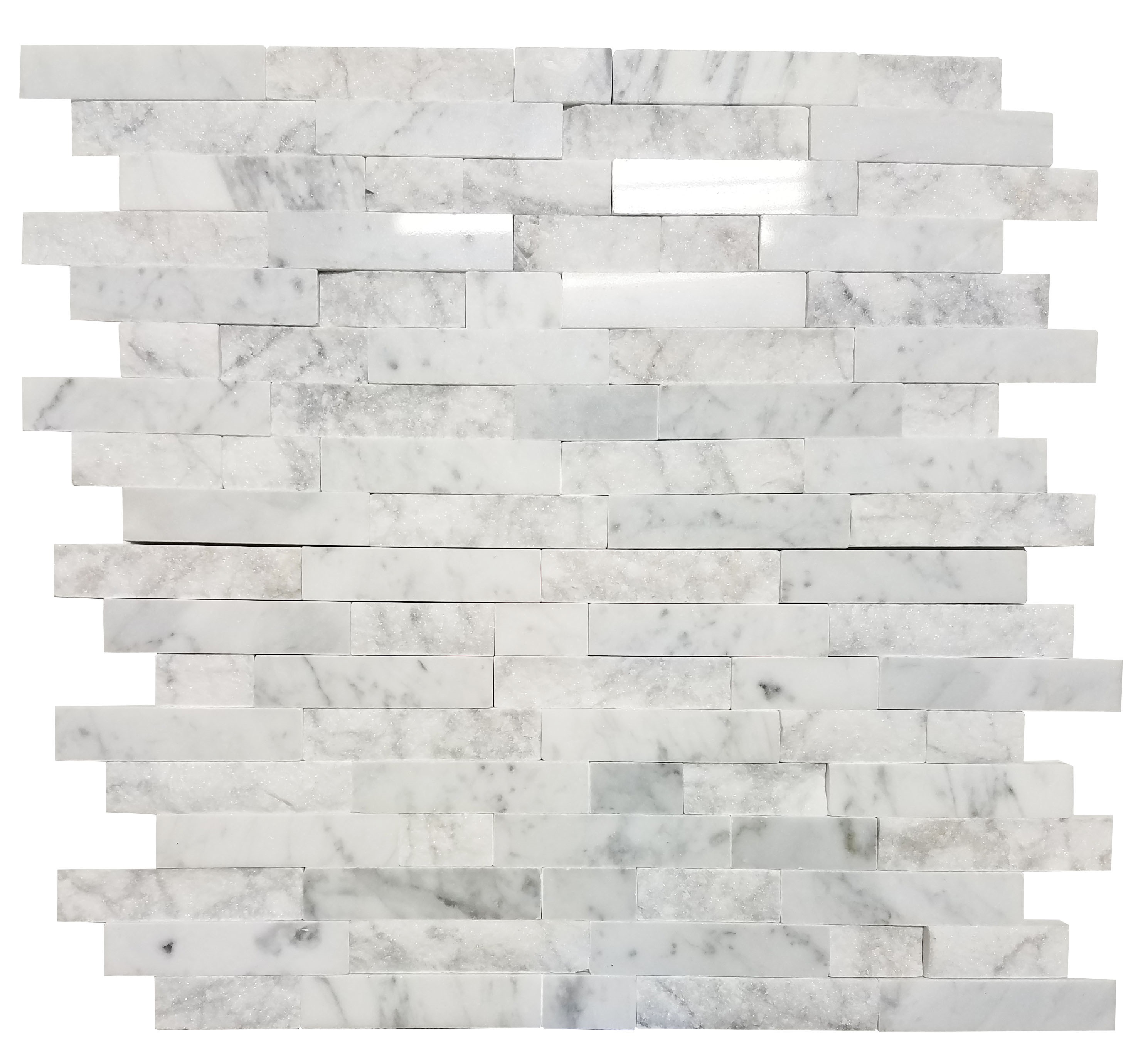 MA257-SP  5/8 White Carrara Strips split face without space polished & matt mixed