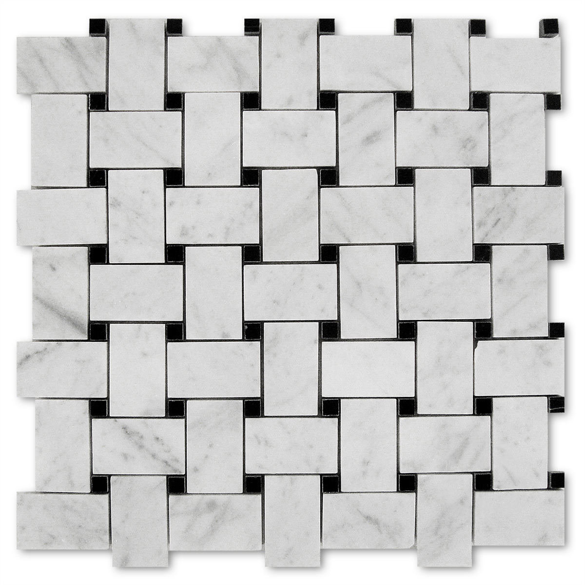 BASKETWEAVE POLISHED WHITE CARRARA + POLISHED BLACK DOTS