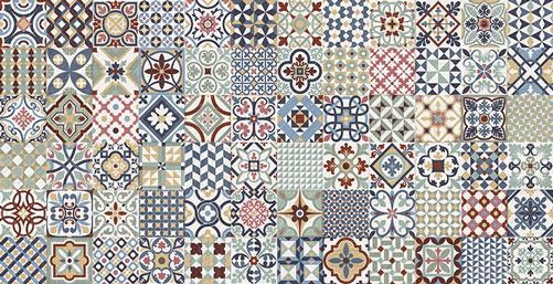 12.6 x 25 HERRITAGE Deco Porcelain tile wall and floor