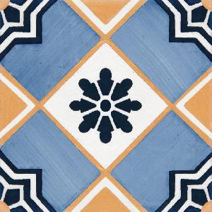 9 X 9 Art Deco 004 Azul Satin Porcelain tile