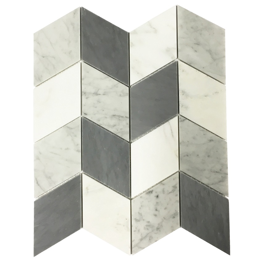 MA281-CHIP CHEVRON WHITE CARRARA + BARDIGLIO AND EASTERN WHITE MARBLE