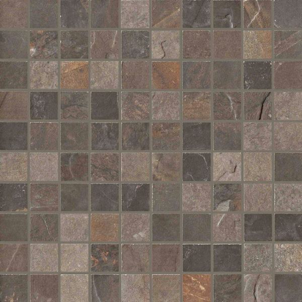 1 x 1 Natural Slate Multicolor mosaic