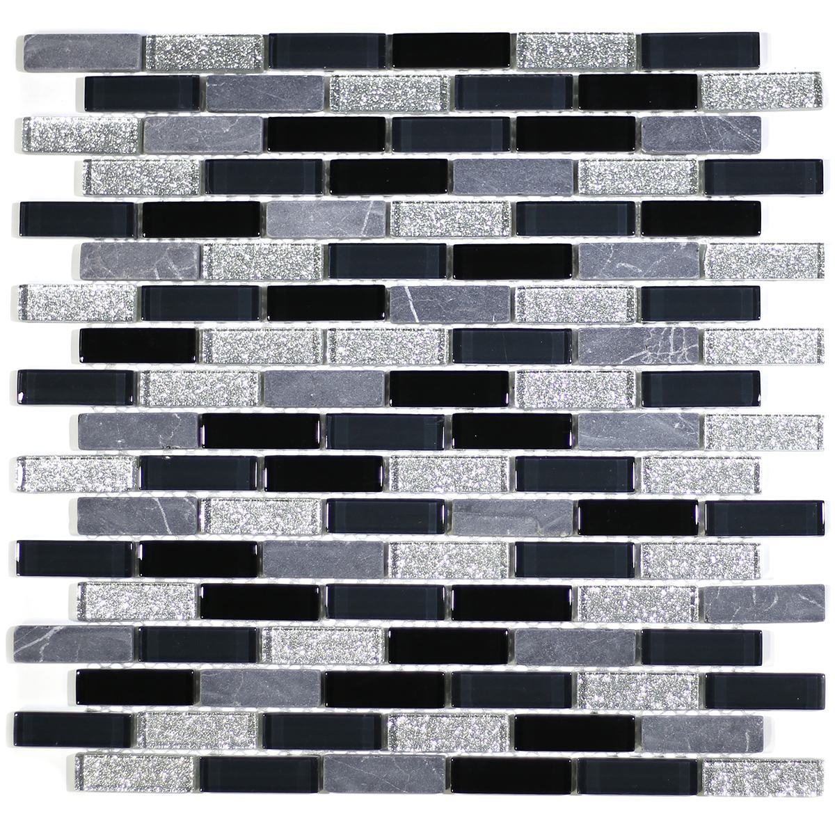 "MA05-LB  2"" BRICK GLASS AND MARBLE MOSAIC BLEND"
