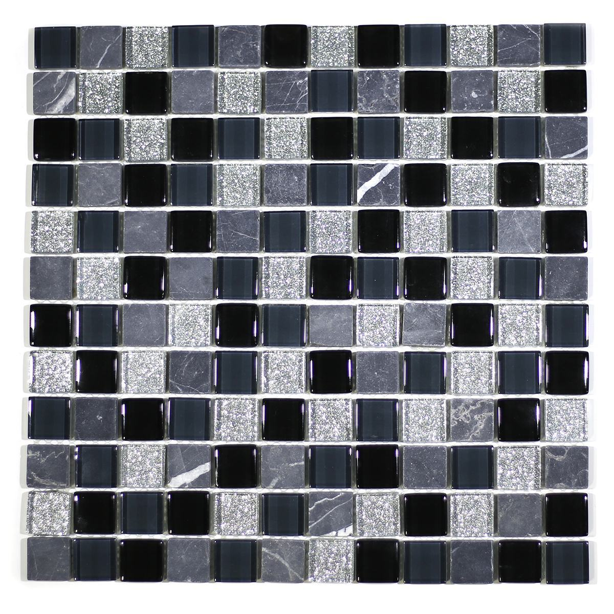 "MA05-LS  1"" SQUARE GLASS AND MARBLE MOSAIC BLEND"
