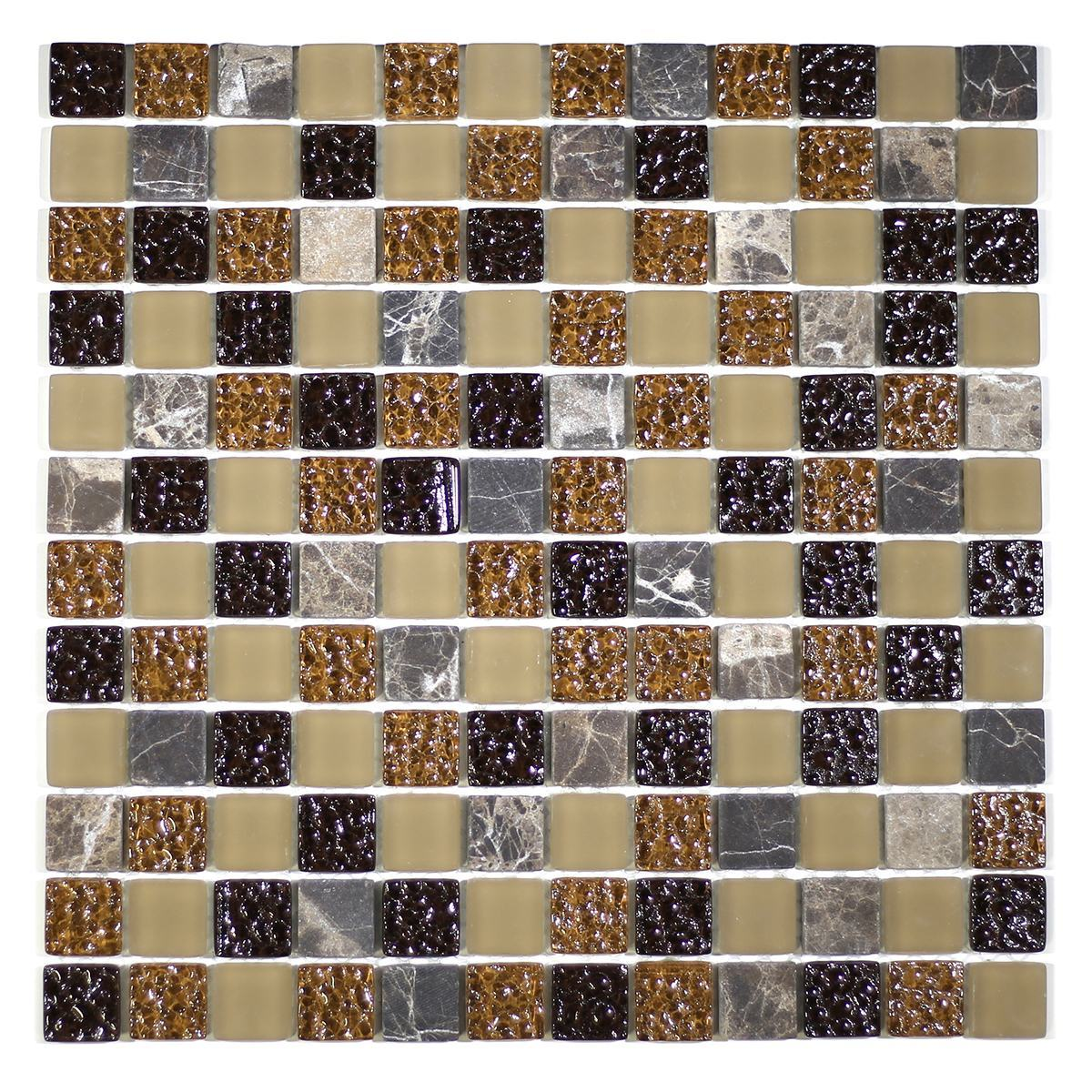 """MA02-LS  1"""" SQUARE GLASS AND MARBLE MOSAIC BLEND"""