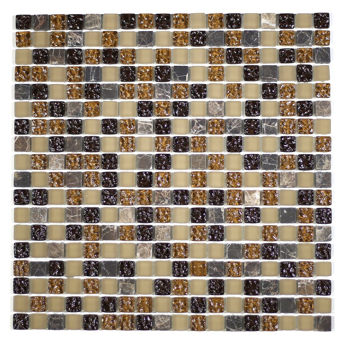 """MA02-S  5/8"""" SQUARE GLASS AND MARBLE MOSAIC BLEND"""