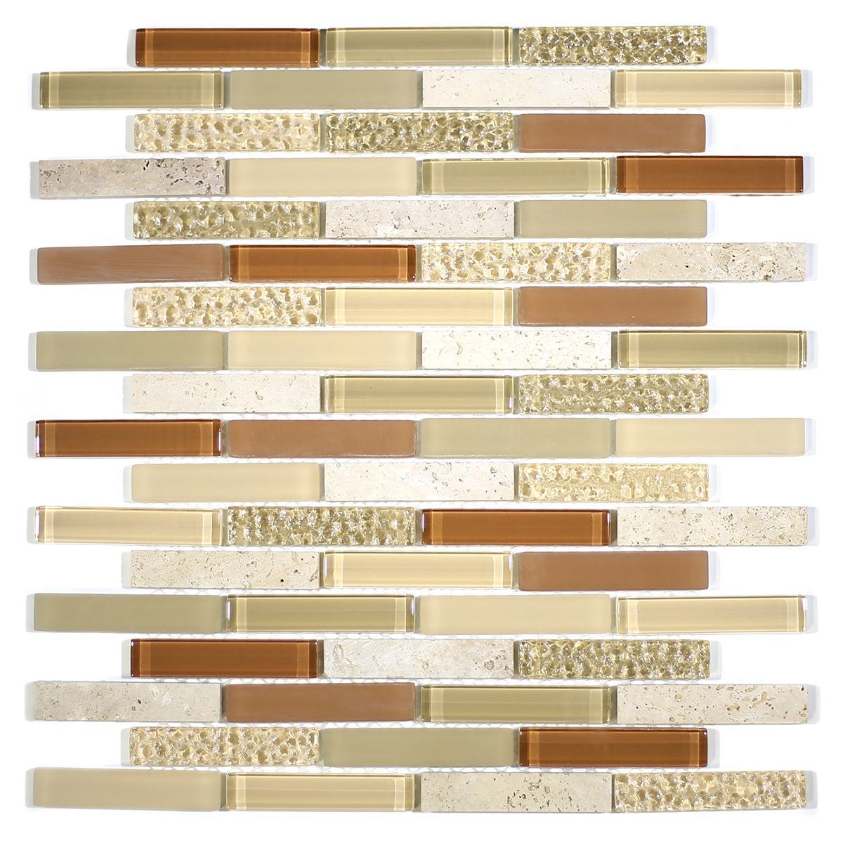 "MA03-B  3"" BRICK GLASS AND STONE MOSAIC BLEND"