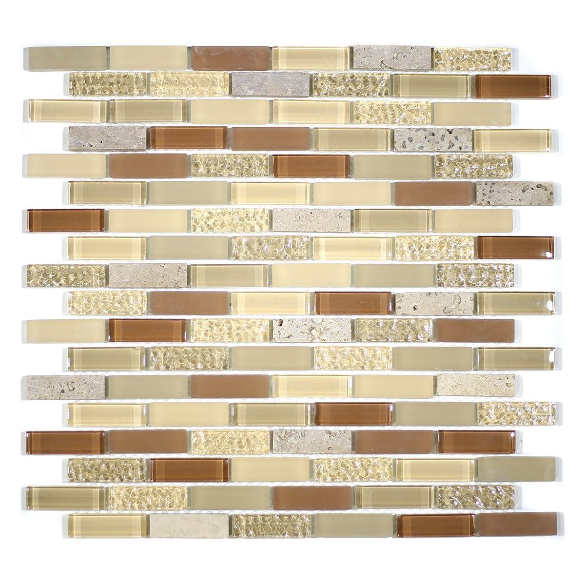 "MA03-LB  2"" BRICK GLASS AND STONE MOSAIC BLEND"