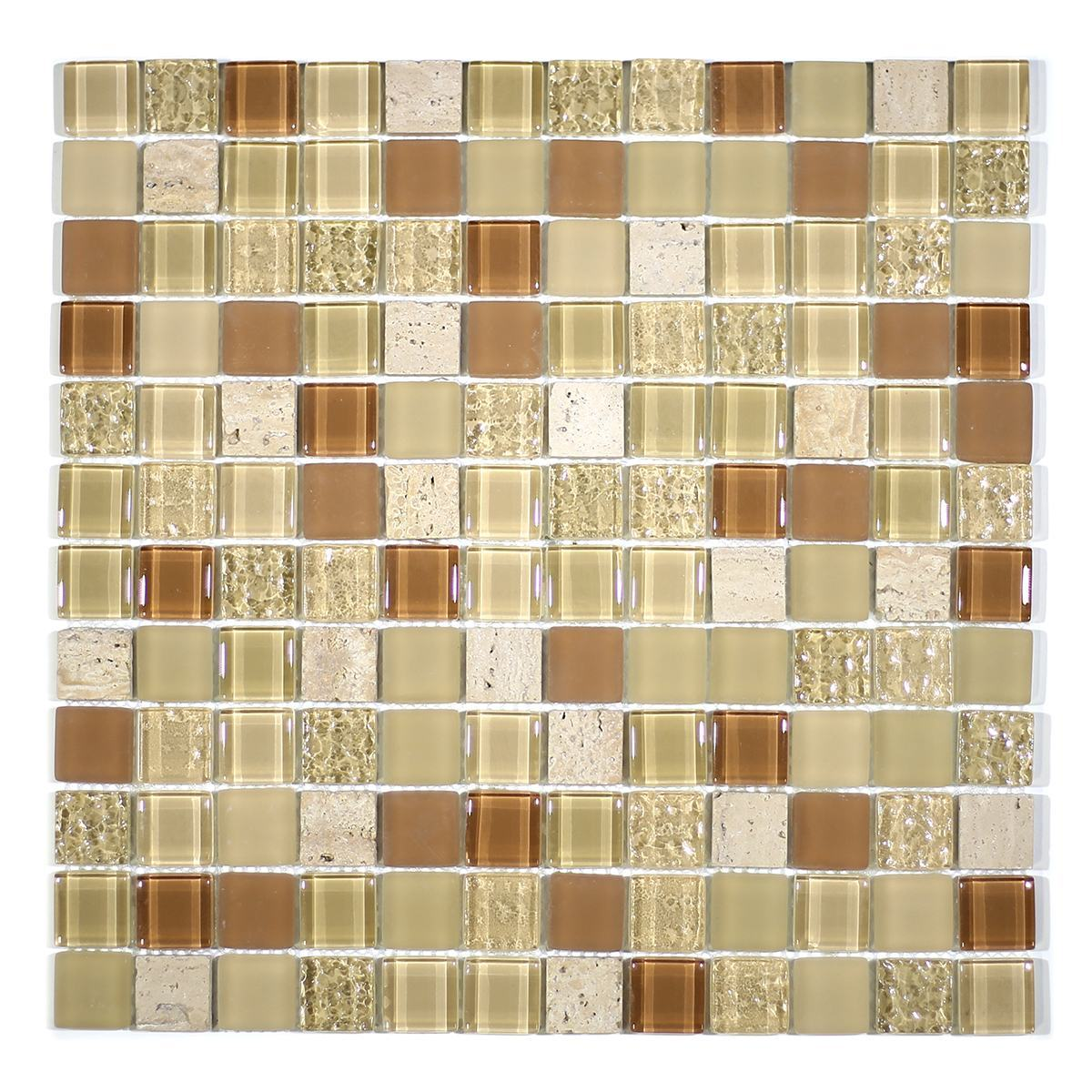 "MA03-LS  1"" SQUARE GLASS AND STONE MOSAIC BLEND"