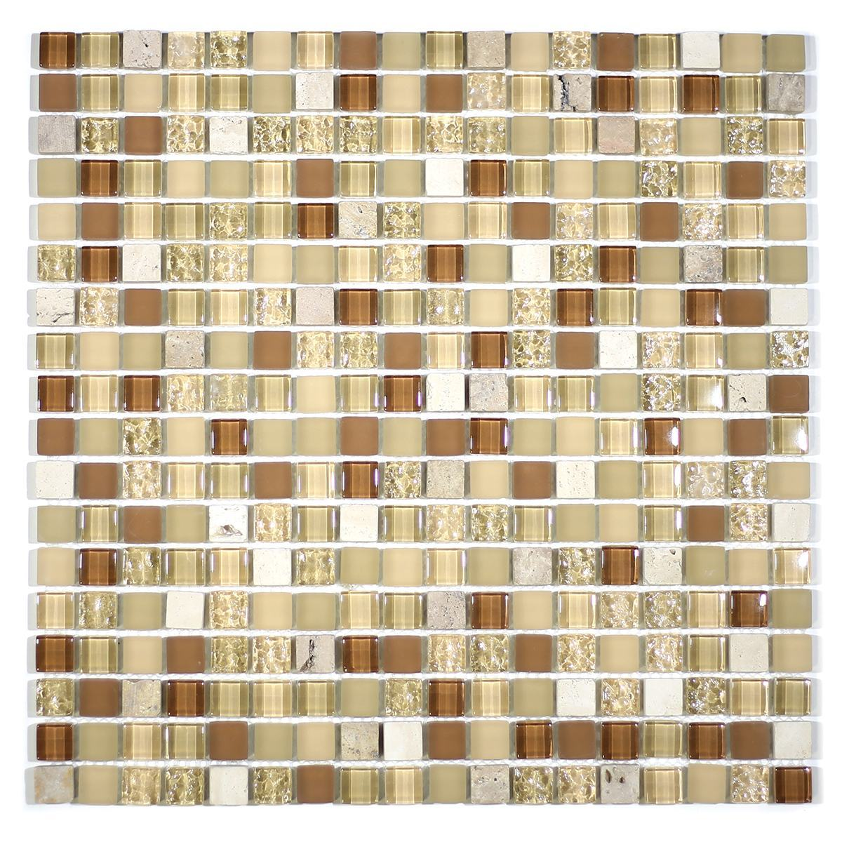 "MA03-S  5/8"" SQUARE GLASS AND STONE MOSAIC BLEND"