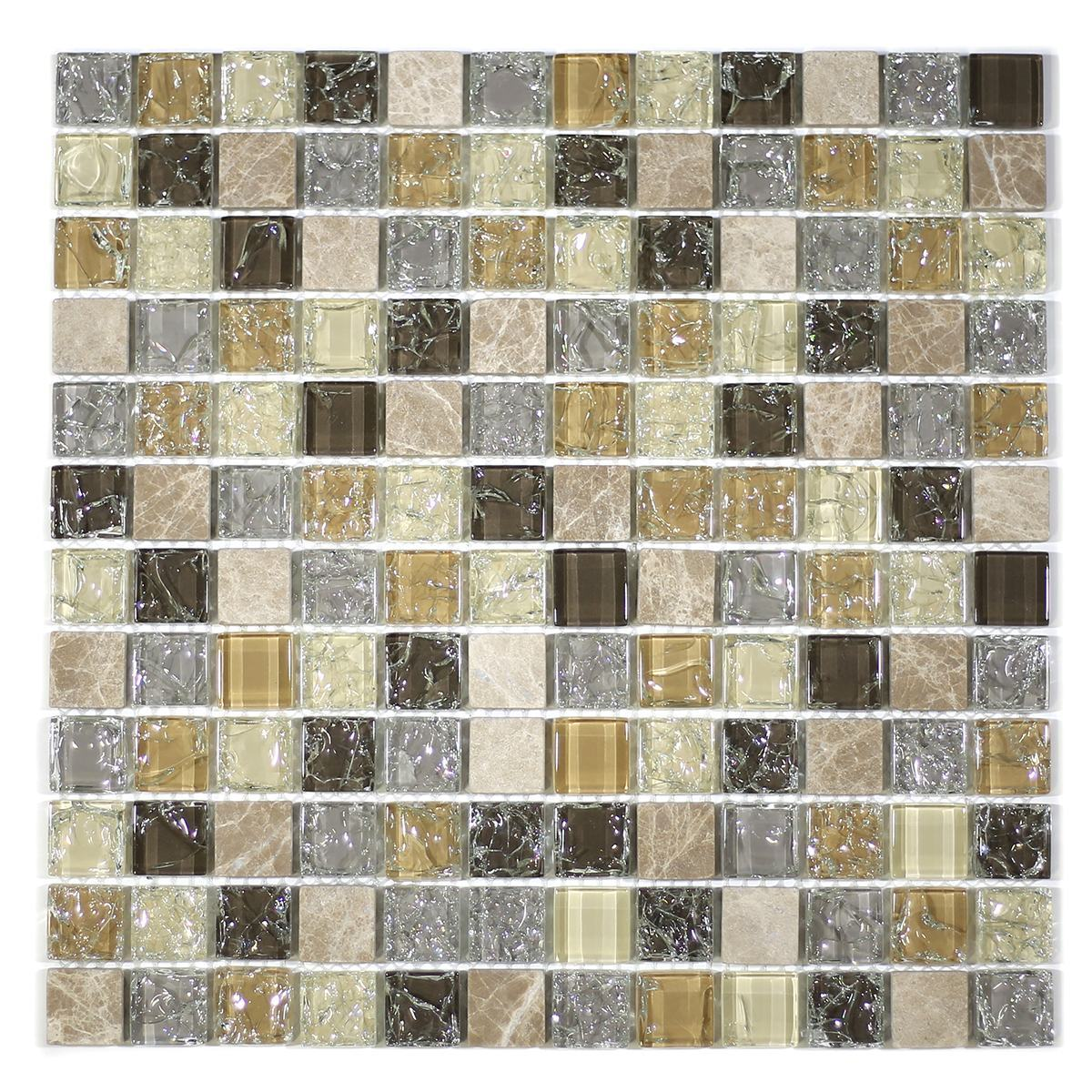 "MA10-LS  1"" SQUARE GLASS AND STONE CRACKLE MOSAIC"