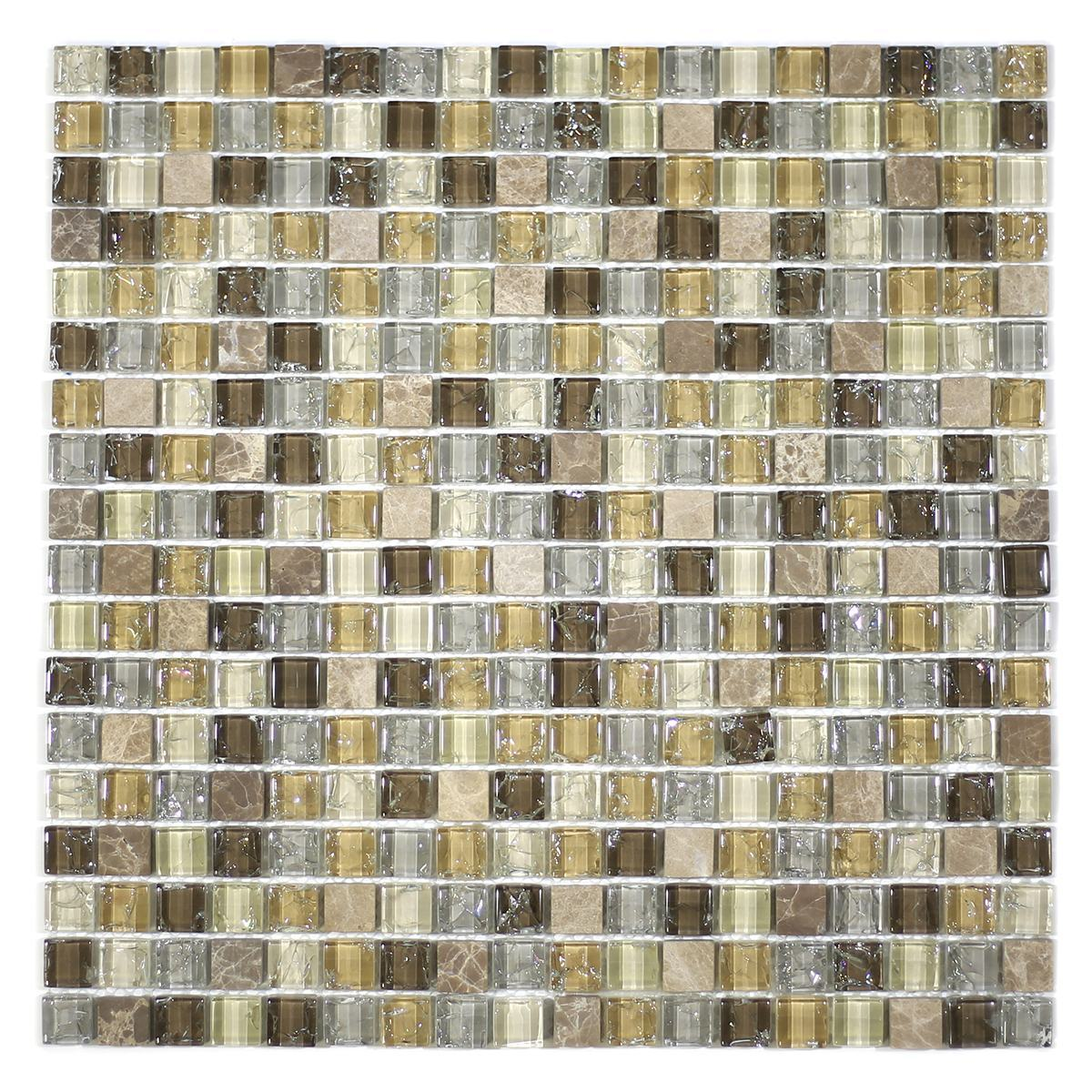 "MA10-S  5/8"" SQUARE GLASS AND STONE CRACKLE MOSAIC"