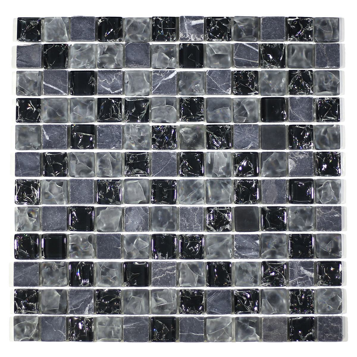 "MA15-LS  1"" SQUARE GLASS CRACKLE AND MARBLE MOSAIC BLEND"